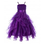 Purple Satin Organza Sequin Spaghetti-Straps Flower Girl Dress 009