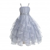 Silver Satin Organza Sequin Spaghetti-Straps Flower Girl Dress 009