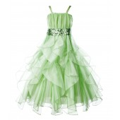 Apple Green Satin Organza Sequin Spaghetti-Straps Flower Girl Dress 009