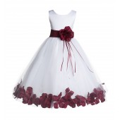 White/Burgundy Floral Rose Petals Tulle Flower Girl Dress 007