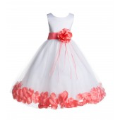 White/Coral Floral Rose Petals Tulle Flower Girl Dress 007