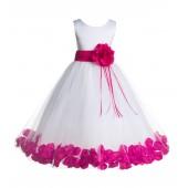 White/Fuchsia Floral Rose Petals Tulle Flower Girl Dress 007
