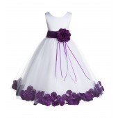 White/Purple Floral Rose Petals Tulle Flower Girl Dress 007