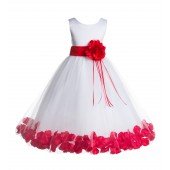 White/Red Floral Rose Petals Tulle Flower Girl Dress 007