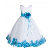 White/Turquoise Floral Rose Petals Tulle Flower Girl Dress 007