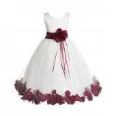 Ivory/Burgundy Floral Rose Petals Tulle Flower Girl Dress 007