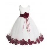 Ivory/Burgundy Floral Rose Petals Tulle Flower Girl Dress 007