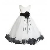 Ivory/Black Floral Rose Petals Tulle Flower Girl Dress 007