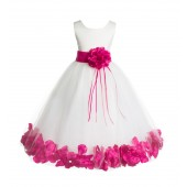 Ivory/Fuchsia Floral Rose Petals Tulle Flower Girl Dress 007