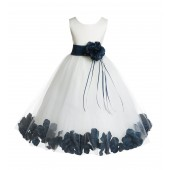 Ivory/Peacock Floral Rose Petals Tulle Flower Girl Dress 007