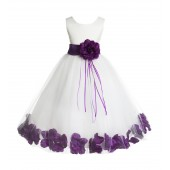 Ivory/Purple Floral Rose Petals Tulle Flower Girl Dress 007