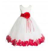 Ivory/Red Floral Rose Petals Tulle Flower Girl Dress 007