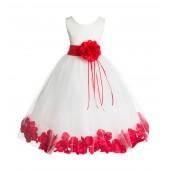 Ivory/Red Floral Rose Petals Tulle Flower Girl Dress 007
