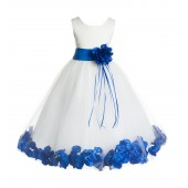 Ivory/Royal Blue Floral Rose Petals Tulle Flower Girl Dress 007