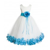 Ivory/Turquoise Floral Rose Petals Tulle Flower Girl Dress 007