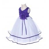 Cadbury Floral Pin Ruffle V-Neck Tulle Flower Girl Dress J115NF