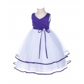 Cadbury Rhinestones Ruffle V-Neck Tulle Flower Girl Dress J115R