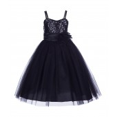 Black Spaghetti-Straps Sequin Tulle Flower Girl Dress Stunning B-1508NF