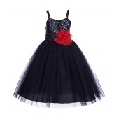 Black/Red Spaghetti-Straps Sequin Tulle Flower Girl Dress Stunning B-1508NF