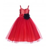 Red/Black Spaghetti-Straps Sequin Tulle Flower Girl Dress Stunning B-1508NF