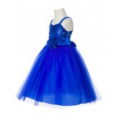 Royal Blue Spaghetti-Straps Sequin Tulle Flower Girl Dress Stunning B-1508NF