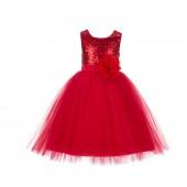 Red Sequins Bodice Ruffle Tulle Flower Girl Dress Flower Pin J122F
