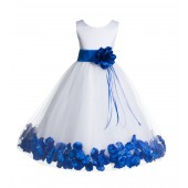 White/Royal Blue Floral Rose Petals Tulle Flower Girl Dress 007