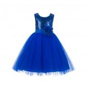 Royal Blue Sequins Bodice Ruffle Tulle Flower Girl Dress Flower Pin J122F