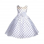 White/Black/White Polka Dot Organza Flower Girl Dress Party Recital 1509