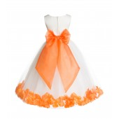 Ivory/Orange Floral Rose Petals Tulle Flower Girl Dress 007