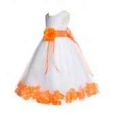 White/Orange Floral Rose Petals Tulle Flower Girl Dress 007