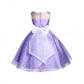 Lilac/White/White Polka Dot Organza Flower Girl Dress Party Recital 1509