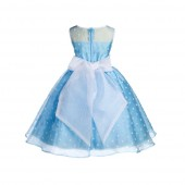 Turquoise/White/White Polka Dot Organza Flower Girl Dress Party Recital 1509