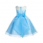 Turquoise/White/Turquoise Polka Dot Organza Flower Girl Dress Party Recital 1509