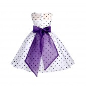 White/Purple/Purple Polka Dot Organza Flower Girl Dress Party Recital 1509