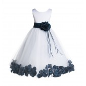 White/Peacock Floral Rose Petals Tulle Flower Girl Dress 007