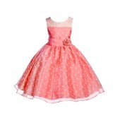 Coral/White/Coral Polka Dot Organza Flower Girl Dress Party Recital 1509