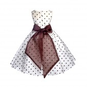 Ivory/Brown/Brown Polka Dot Organza Flower Girl Dress Party Recital 1509
