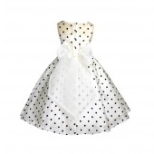 Ivory/Brown/Ivory Polka Dot Organza Flower Girl Dress Party Recital 1509