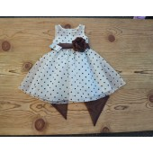 Ivory/Brown/Brown Polka Dot Organza Flower Girl Dress Dance Reception 1509U