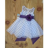 White/Purple/White Polka Dot Organza Flower Girl Dress Dance Reception 1509U