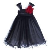Black/Red Rattail Edge Tulle Flower Girl Dress Pretty Princess 117NF