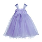 Lilac Rattail Edge Tulle Flower Girl Dress Pretty Princess 117NF