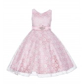 Dusty Rose/Ivory Floral Lace Overlay V-Neck Rhinestone Flower Girl Dress 166S