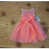 Coral/White/Coral Polka Dot Organza Flower Girl Dress Dance Reception 1509U