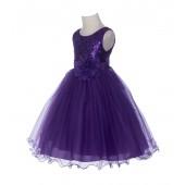 Purple Glitter Sequin Tulle Flower Girl Dress Formal Princess B-011NF