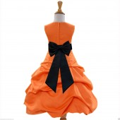 Orange/Black Satin Pick-Up Bubble Flower Girl Dress Halloween 808T