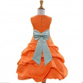 Orange/Sage Satin Pick-Up Bubble Flower Girl Dress Halloween 808T