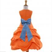Orange/Sky Blue Satin Pick-Up Bubble Flower Girl Dress Halloween 808T