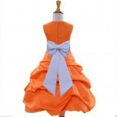 Orange/White Satin Pick-Up Bubble Flower Girl Dress Halloween 808T